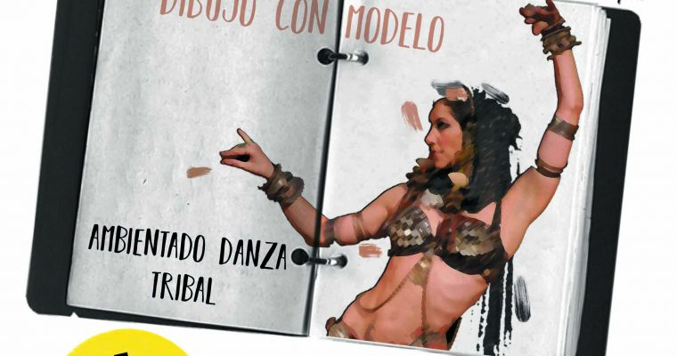 Dibujo con modelo ambientado danza tribal